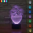 3D Snow White Toy Valentine's Day gift rose vase Tabletop Laser Cut USB LED Lamp