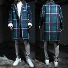 Men Green Plaid Check Tartan Longline Suit Blazer Overcoat Outerwear Jacket Coat