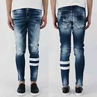 Men Chic Blue Vintage Striped Denim Slim Fit Tapered Skinny Pants Trousers Jeans
