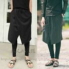 Men Hit Black Baggy Drop Crotch Gothic Layer Skirt Elastic Skinny Pants Trousers