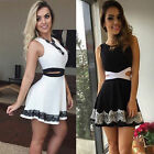 New Women Casual Summer Cocktail Party Evening Sleeveless Lace Short Mini Dress