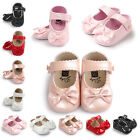 Newborn Baby Girl Bow Anti-slip Crib Shoes Soft Sole Sneakers Prewalker 0-18M UK