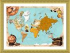 Pirates Old Vintage Maps by World Map | Framed canvas | Wall art painting HD