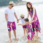 Summer family dress floral Red woman girl long dresses cotton father son Sets