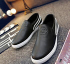 Men's Slip on casual fashion sneakers lace up casual shoes black