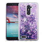 for ZTE Zmax Pro Z981 Bling Hybrid Liquid Glitter Rubber Protective Case Cover
