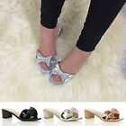 WOMENS LADIES MID CHUNKY HEEL WEDDING JEWELLED BOW FLIP FLOPS MULES SANDALS SIZE