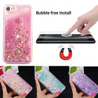 Tempered Glass Hybrid Liquid Glitter Stars Hearts Rubber Case Cover for iPhone