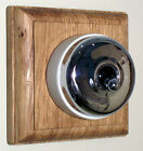 Plain Chrome & Ceramic Dolly Switch Single Oak Pattress