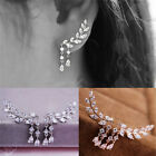 1 Pair Fashion Women Gold/Silver Tassel Stud Crystal Zircon Earrings