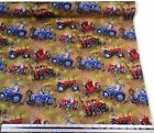 Kids Farmyard Sheep Dogs Tractors Brown 100% Cotton Fabric Material *3 Sizes*