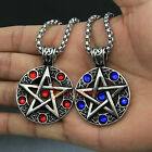 Stainless Steel Celtic Wicca Magick Pentacle Pentagram Star CZ Stones Pendant