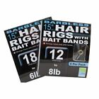 "PRESTON INNOVATIONS BARBLESS 15"" HAIR RIGS WITH BAIT BANDS - BANDED PELLET HOOKS"