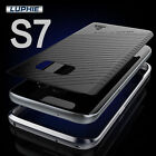 Luphie Aluminum Metal Bumper Frame+Leather Case Cover For Samsung Galaxy S7 Edge