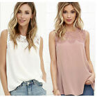 New Women Casual Basic Summer Lace Chiffon Blouse Tank Top Shirt Plus Size