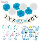 39pcs Baby Shower Photo Booth Props Paper Pom Pom Party Banner Hanging Swirl Dec