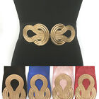 Bling classy Women Fashion Elastic Waist Wide Belt Stretch Gold Metal Chain