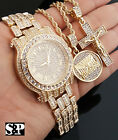Men Hip Hop Iced Out Lab Diamond Watch & Jesus Cross, Last Supper Necklace Set image