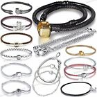 925 European Sterling Leather Silver Bracelets Chains Necklaces Fit Charms Beads