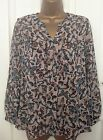 New Ladies Beige Grey Green Butterfly Animal Print Chiffon Blouse Top 8 12