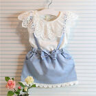 Toddler Kid Baby Girls Bow Denim Dress Lace Straps Jeans Skirt One Piece Clothes