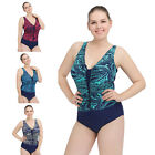 Women Plus Size Padded Bikini One Piece Swimsuit Floral Push Up Beachwear Suit