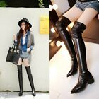 Hot Women Sexy Pointy Toe Chunky Heel Pull On Stretch Slim Over Knee Thigh Boots