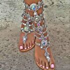 Vogua Womens RHINESTONE Sandals Strap Flip Flop Strap Flat Beach Shoes US4-14