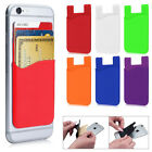 Credit Card ID Holder Adhesive Sleeve Rubber Wallet Phone Case IPhone Galaxy