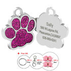 Fancy Bling Paw Custom Dog Tags Single Side Engraved Cat Kitten ID Tag Free Gift