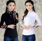 Womens Embroidery Line Cotton Long Sleeve Tops T-shirt Blouse National Style N24
