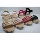 GIRLS KIDS CHILD CHILDRENS BEADED SANDALS SUMMER BEACH RUBBER SHOES FLATS SIZE