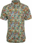 Run & Fly Mens Vintage Garage Car Print Short Sleeved Shirt Retro Kitsch 50s 60s