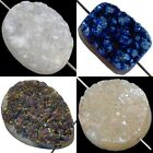 Druzy Quartz Agate Gemstone Side Drilled Flat Back Connector Cabochon CAB Beads