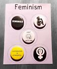5 FEMINISM Badge Magnet Mirror or Keyring set Feminist 25mm pin Women's Rights