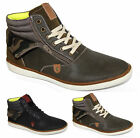 Mens Black Khaki Green Army Designer Inspired High Top Trainers All Sizes UK6-11