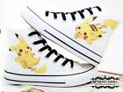Children's Anime Hand-Painted Fans Canvas Shoes Pocket Monster Pikachu Sneaker