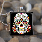 DAY OF THE DEAD DIA DE LOS MUERTOS SUGAR SKULL GLASS PENDANT NECKLACE design 4