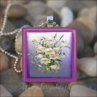"""EASTER LILIES"" SPRING FLOWER LILY LILLIES GLASS TILE PENDANT NECKLACE KEYRING"