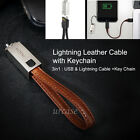 Leather Keychain Charger USB & Lightning Data Sync Cable for iPhone 7 6 6s Plus