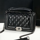 Women's Quilted Faux Leather Small Single Shoulder bag Purse Chain Crossbody bag
