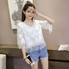 Women Summer Fashion Lace Fringes Floral Cut Out Bell Sleeve Tops Blouse S-3XL