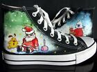Santa Claus Pattern Children Hand-Painted Canvas Shoes for Boy Girl Sneaker