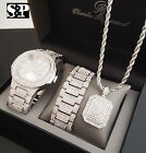 MEN HIP HOP WHITE GOLD PT WATCH & FULL ICED OUT NECKLACE & BRACELET COMBO SET  image