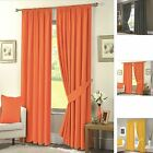 """Luxury Half Panama Thermal Fully Lined 100% Solar Blackout Curtains 3"""" Tape Top"""