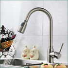 Pull Out Nickel Brushed Kitchen Faucet Silver Swivel Single Lever Deck Mount Tap