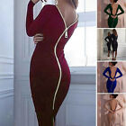 New Women Bandage Bodycon Long Sleeve Evening Party Cocktail Back Zip Mini Dress
