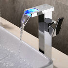 Chrome Brass LED Bathroom Basin Tap Sink Waterfall Spout Mixer Faucet New