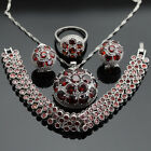 Round RED Garnet  Set 925 Silver set Necklace Pendant Earrings Ring bracelet