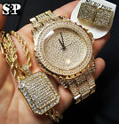 MEN'S HIP HOP ICED OUT GOLD PT LAB DIAMOND WATCH & NECKLACE & EARRINS COMBO SET